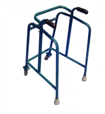 Walking frame with castor wheels